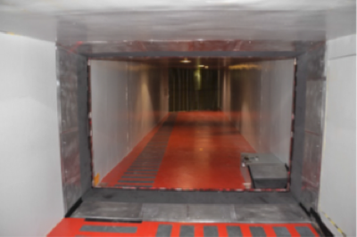 Figure 4: IRT tomography facility in rectangular tunnel, looking downstream