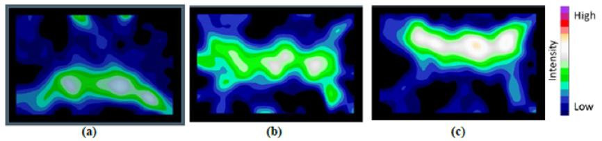 Figure 5: (a) lower spray bar only, (b) middle spray bar only and (c) upper spray bar only.